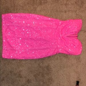Hot pink sequins dress